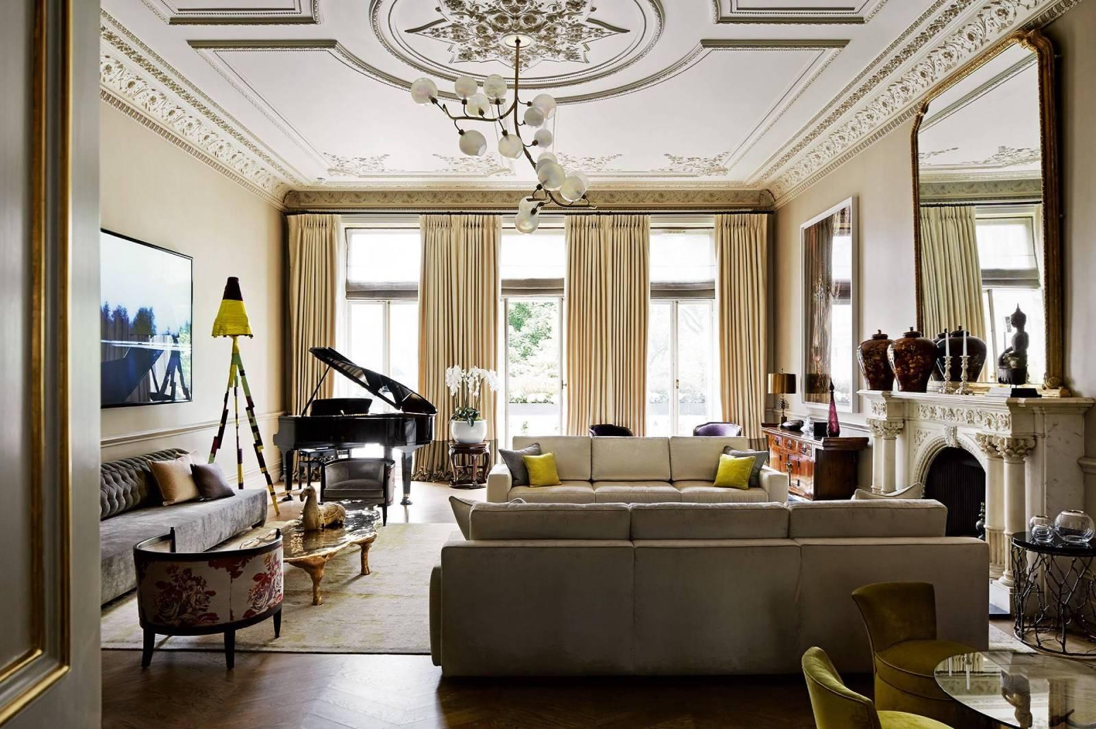 Phòng khách biệt thự tân cổ điển kết hợp Châu Á và Châu Âu