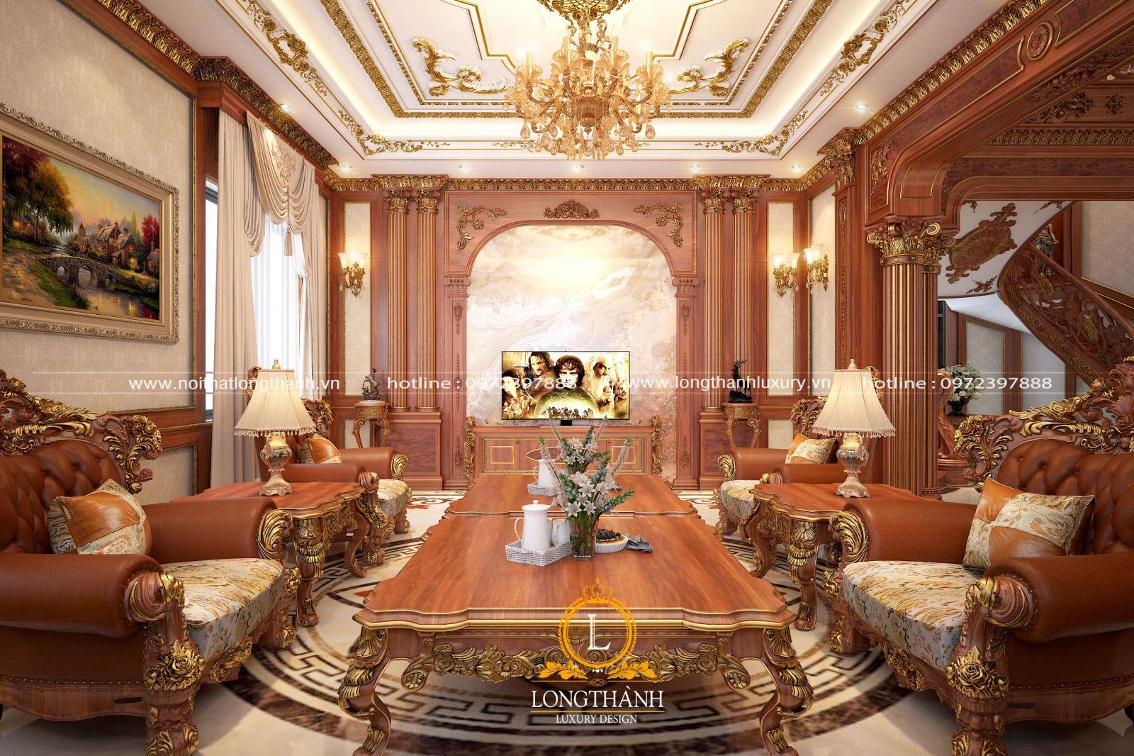 Phòng khách biệt thự tân cổ điển lộng lẫy