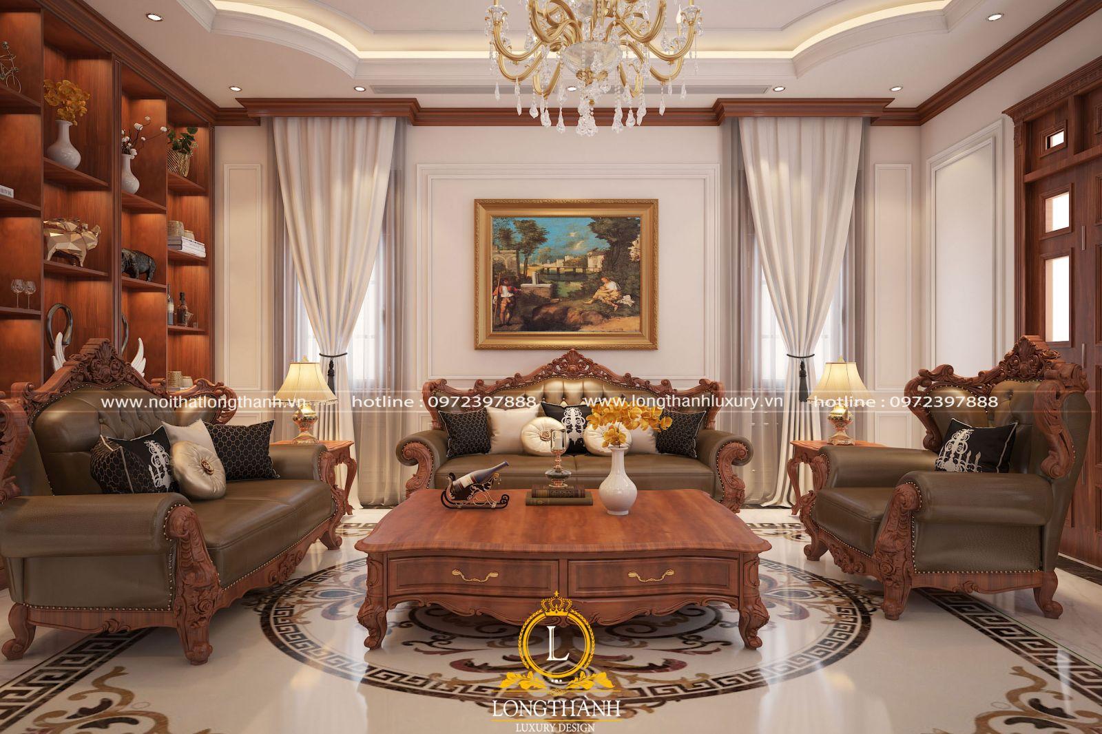 Bức tranh ấn tượng được bố trí ngay trung tâm căn phòng khách tân cổ điển
