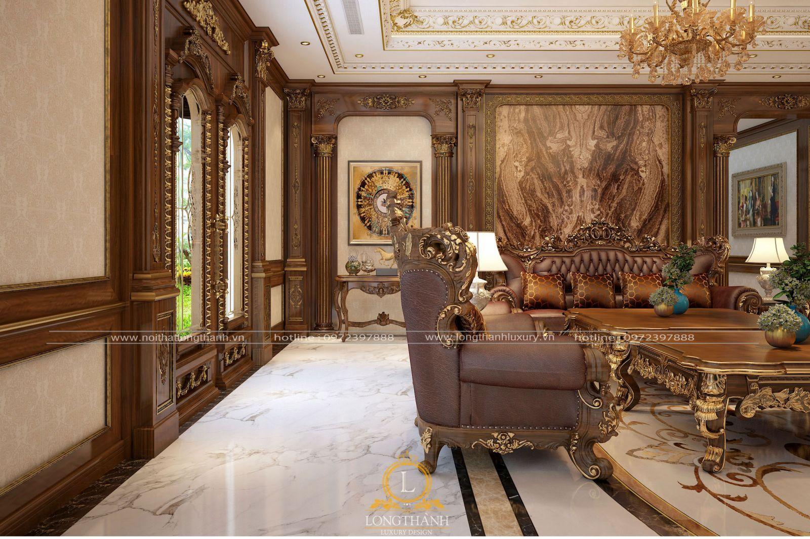 Tone màu trang trí từ trần, sàn, Sofa, vách ốp hài hòa cho phòng khách thêm sang trọng