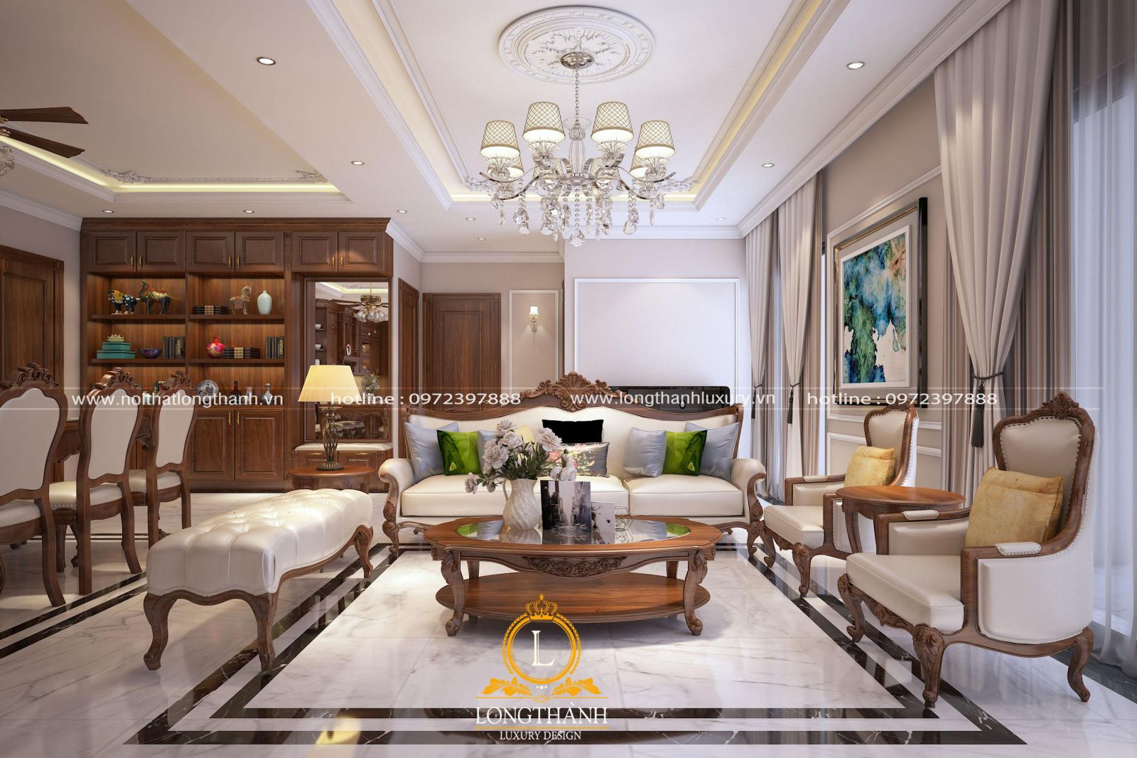 Sofa tân cổ điển đơn giản phù hợp với không gian khiêm tốn