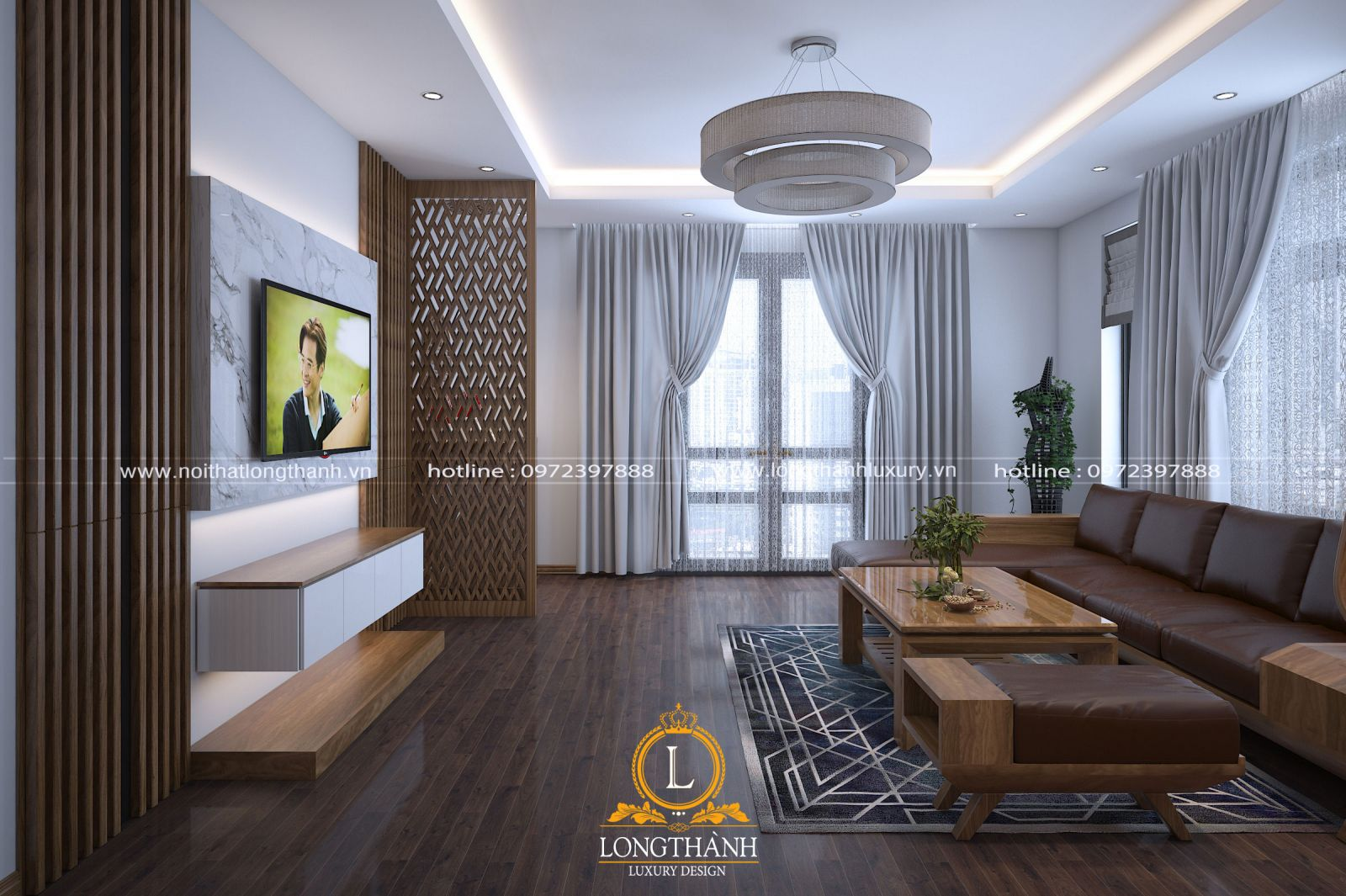 Phòng khách hiện đại bằng gỗ óc chó