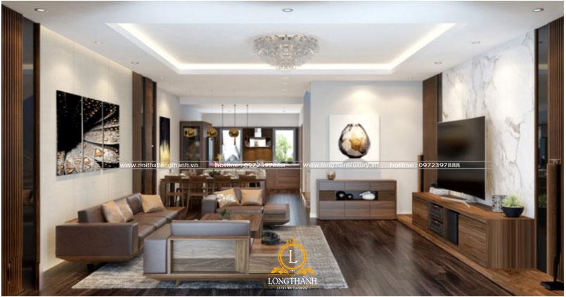 Căn phòng khách chung cư đẹp với bộ sofa gỗ phù hợp
