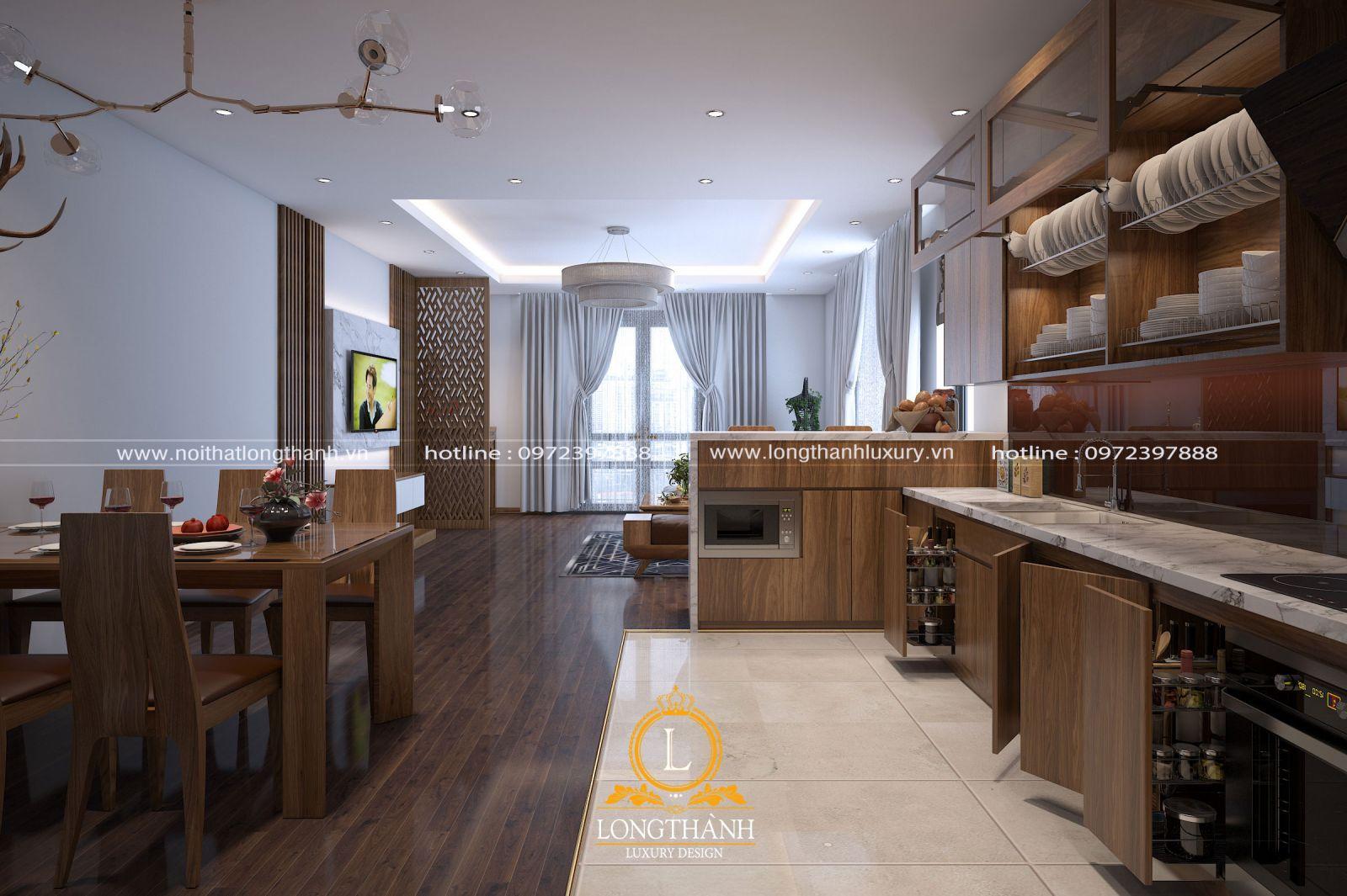 Phòng khách hiện đại kết hợp phòng ăn sang trọng