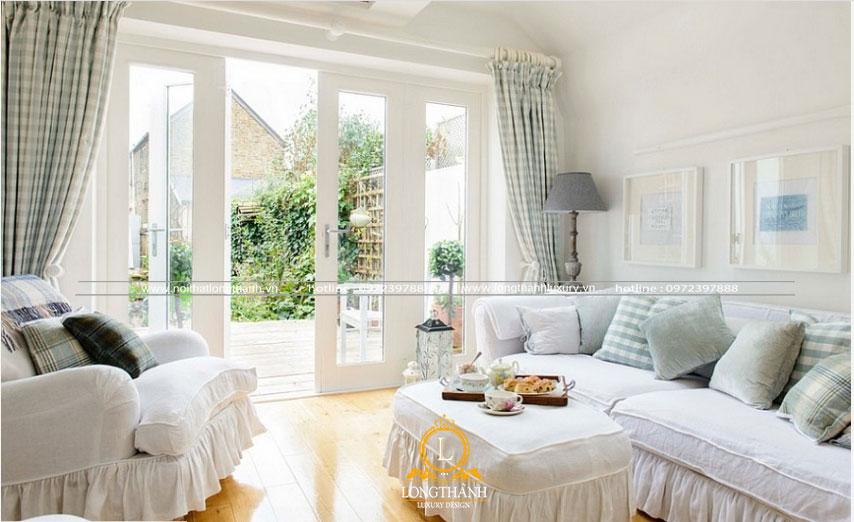 Phòng khách hiện đại màu trắng thiết kế mở
