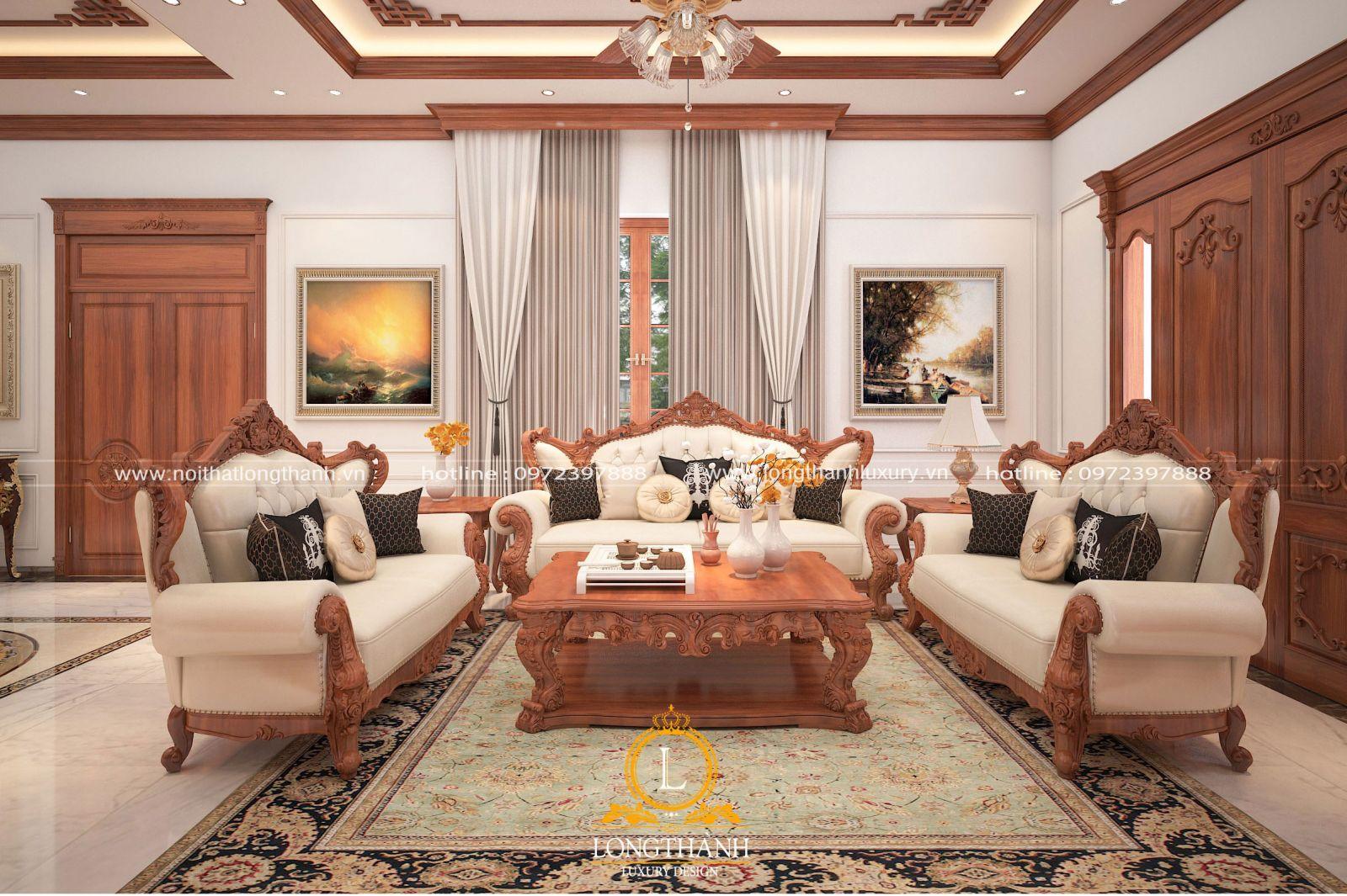 Phòng khách tân cổ điển thiết kế hiện đại được nhiều gia chủ lựa chọn