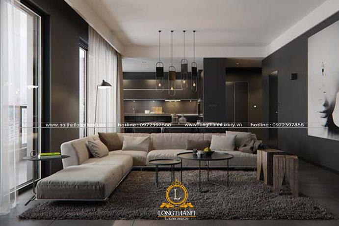 Phòng khách hiện đại với tone màu trầm ấm