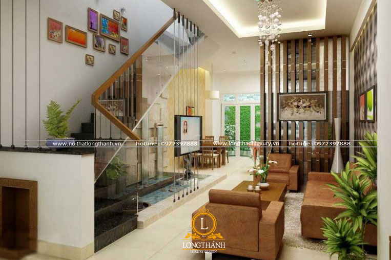 Phòng khách hiện đại với thiết kế cầu thang sang trọng