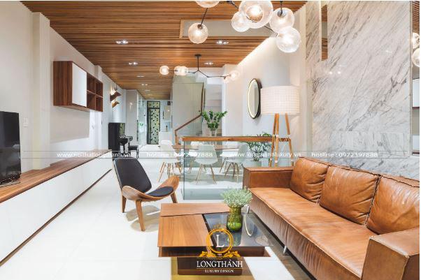 Mẫu thiết kế nội thất phòng khách cho nhà ống phong cách hiện đại đơn giản