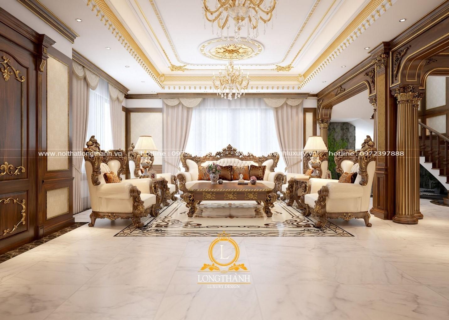 Phòng khách lộng lẫy với thiết kế tân cổ điển