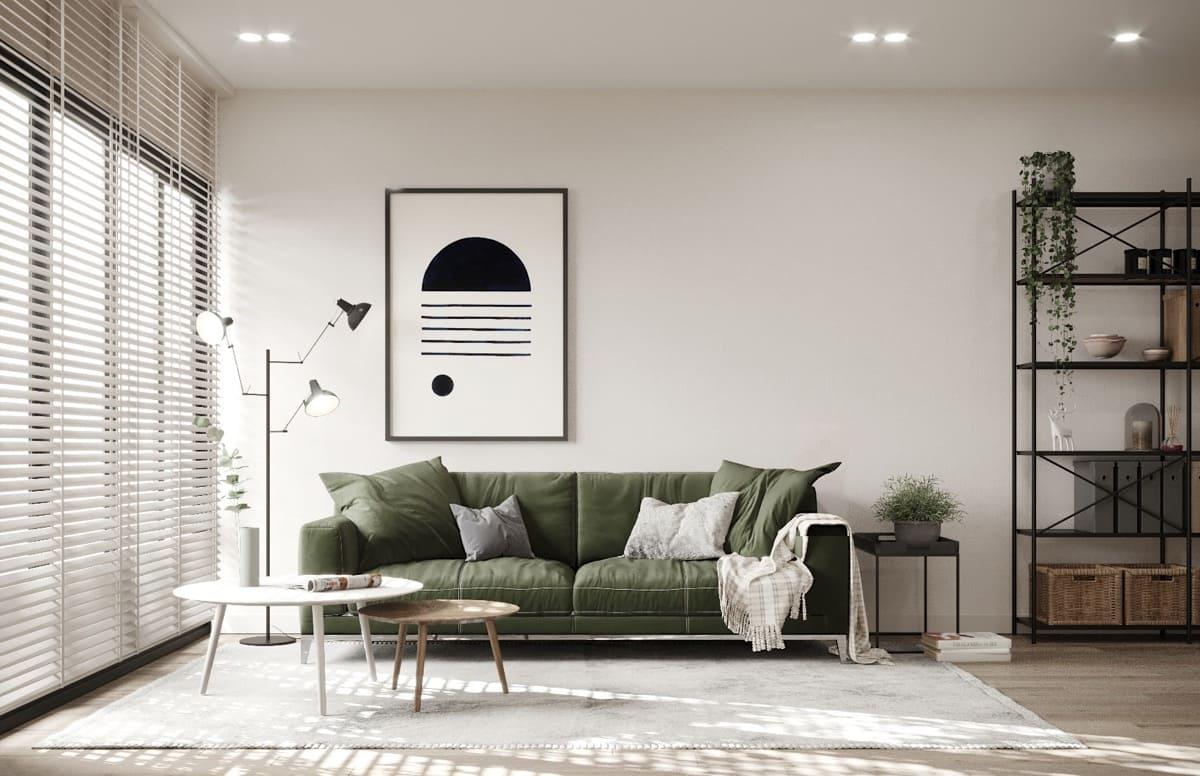 Phòng khách mang phong cách Scandinavian với hệ nguồn sáng tự nhiên