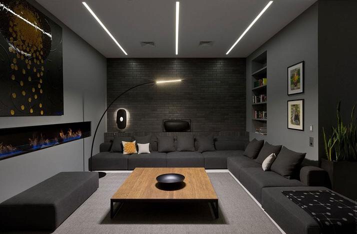 Phòng khách với gam màu ghi kết hợp đen sang trọng