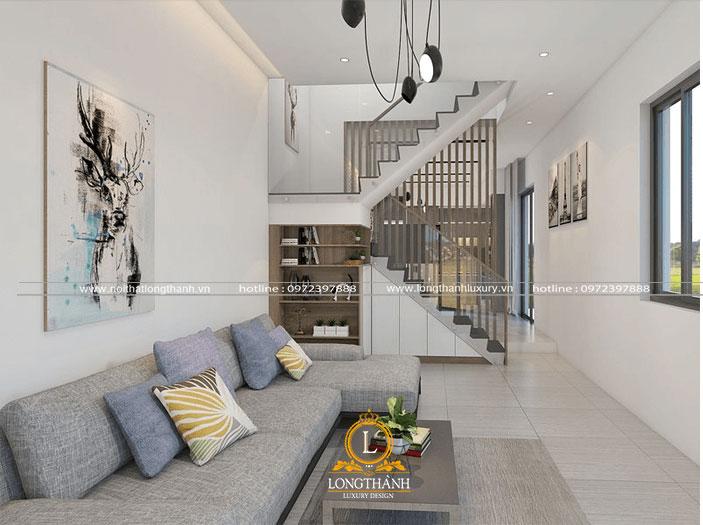 Không gian phòng khách nhà phố hiện đại sử dụng bộ sofa vải đơn giản