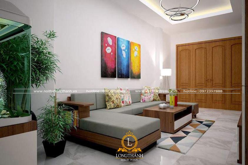 Không gian phòng khách nhà ống với bộ sofa chữ L sang trọng