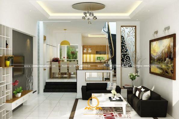Phòng khách nhà phố hiện đại với gam màu trắng đen