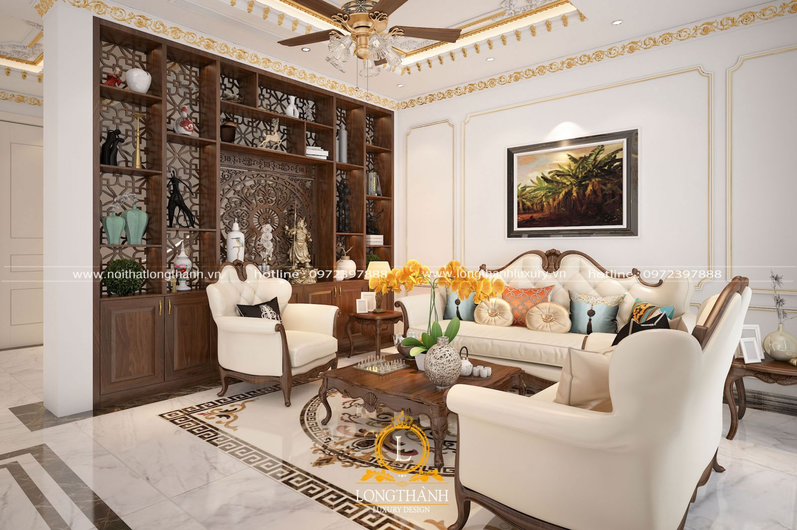 Tủ trưng bày tân cổ điển cho phòng khách