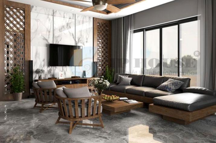 phòng khách hiện đại lựa chọn phong cách Á Đông đương đại
