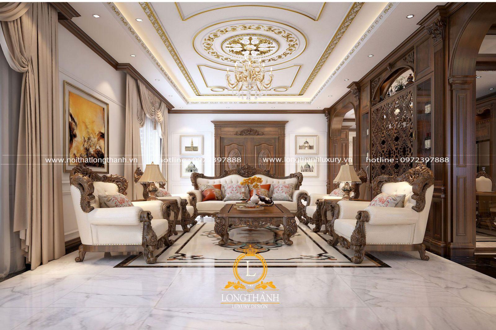 Thiết kế nội thất phòng khách sử dụng trần liền vừa đẹp vừa sang