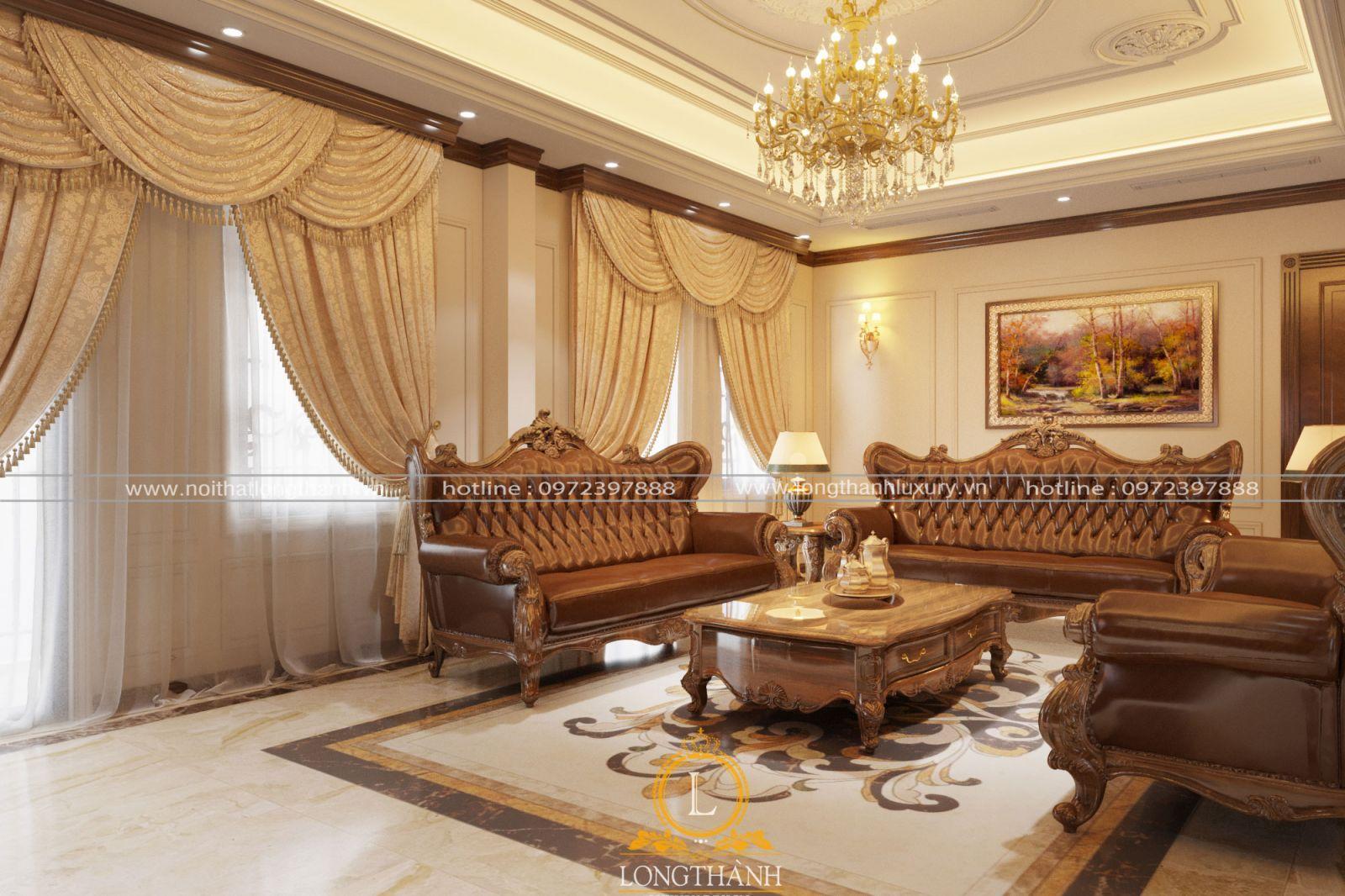 Phòng khách tân cổ điển đẹp nhẹ nhàng