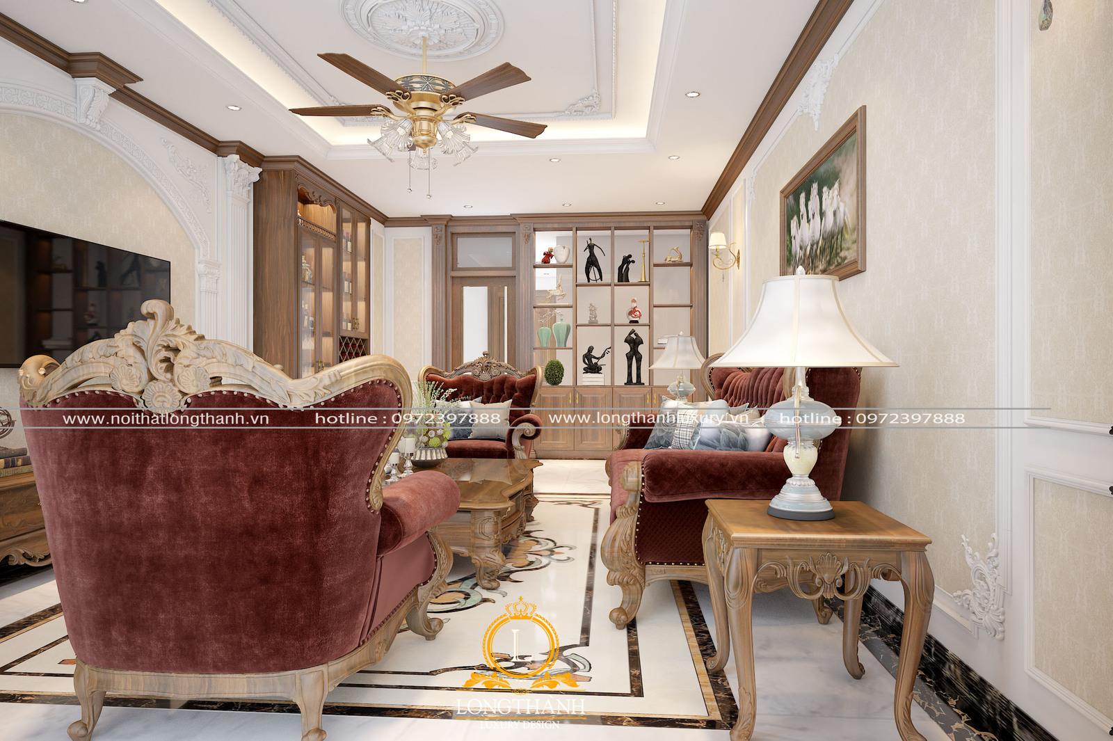 Mẫu thiết kế phòng khách tân cổ điển cho nhà ống