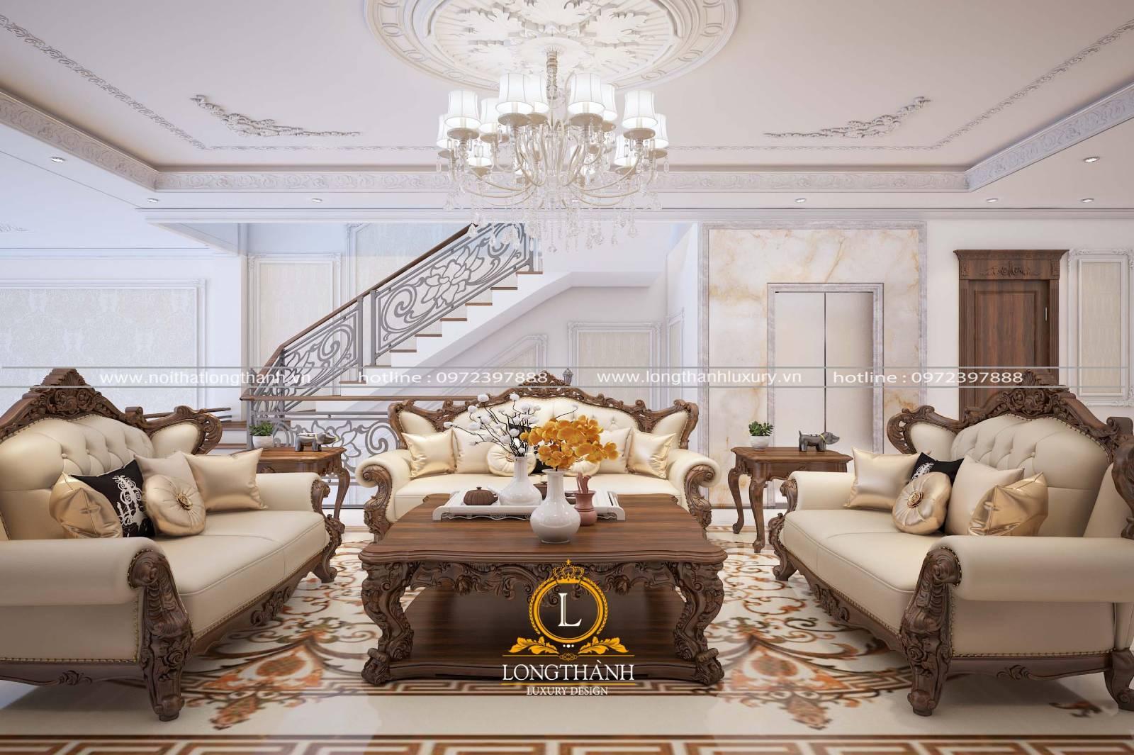 Phòng khách tân cổ điển có cầu thang với thiết kế sang trọng hiện đại
