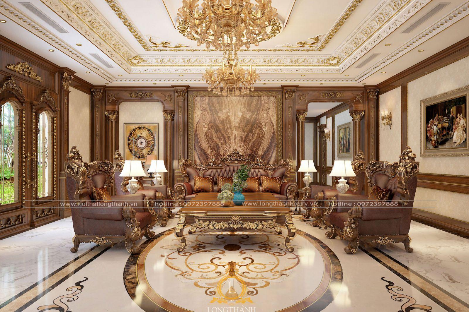 Phòng khách tân cổ điển được thiết kế đồng bộ