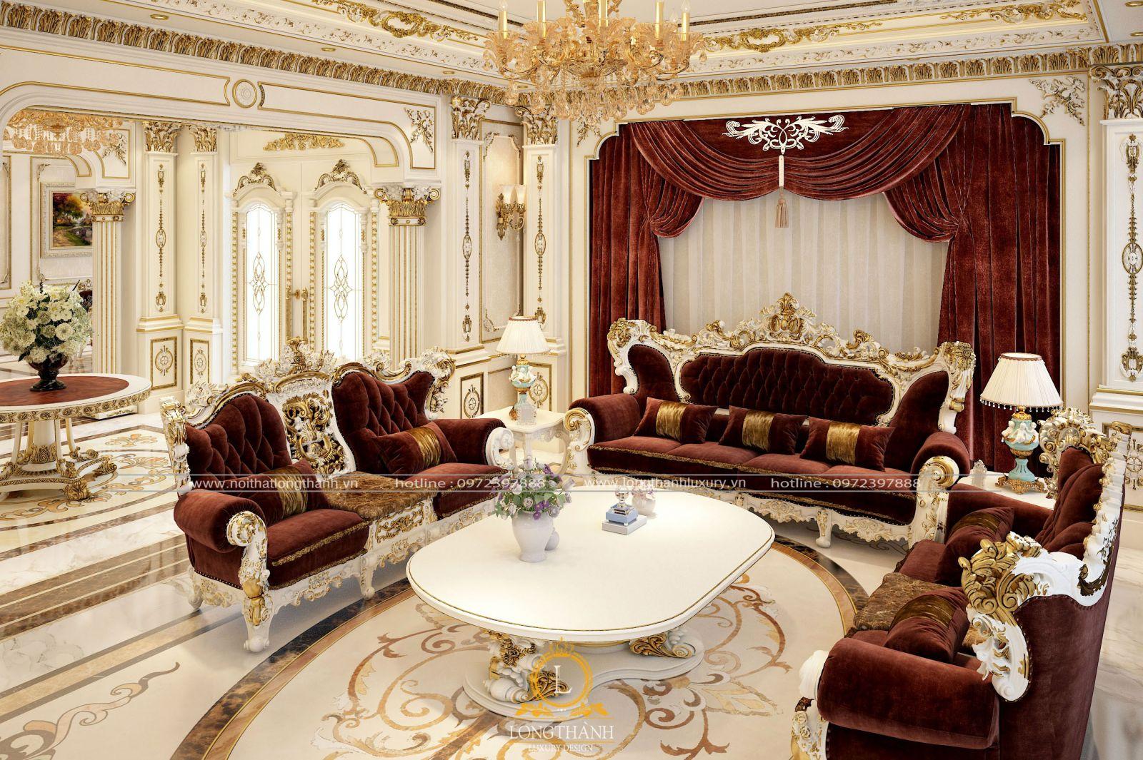 Rèm, vải gấm bọc Sofa với cùng một chất liệu giúp phòng khách chuẩn tông
