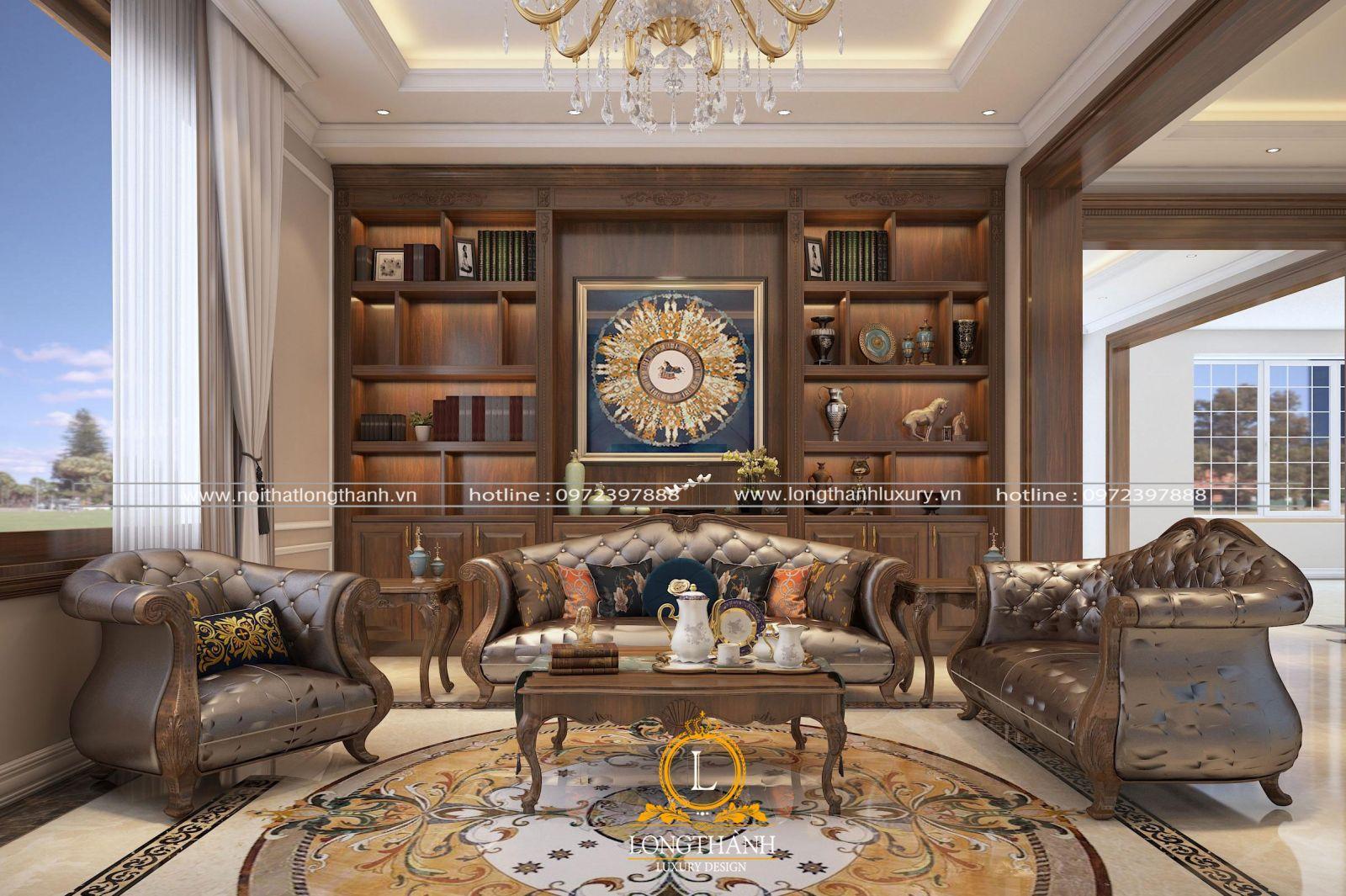 Phòng khách tân cổ điển được trang trí nội thất ấn tượng