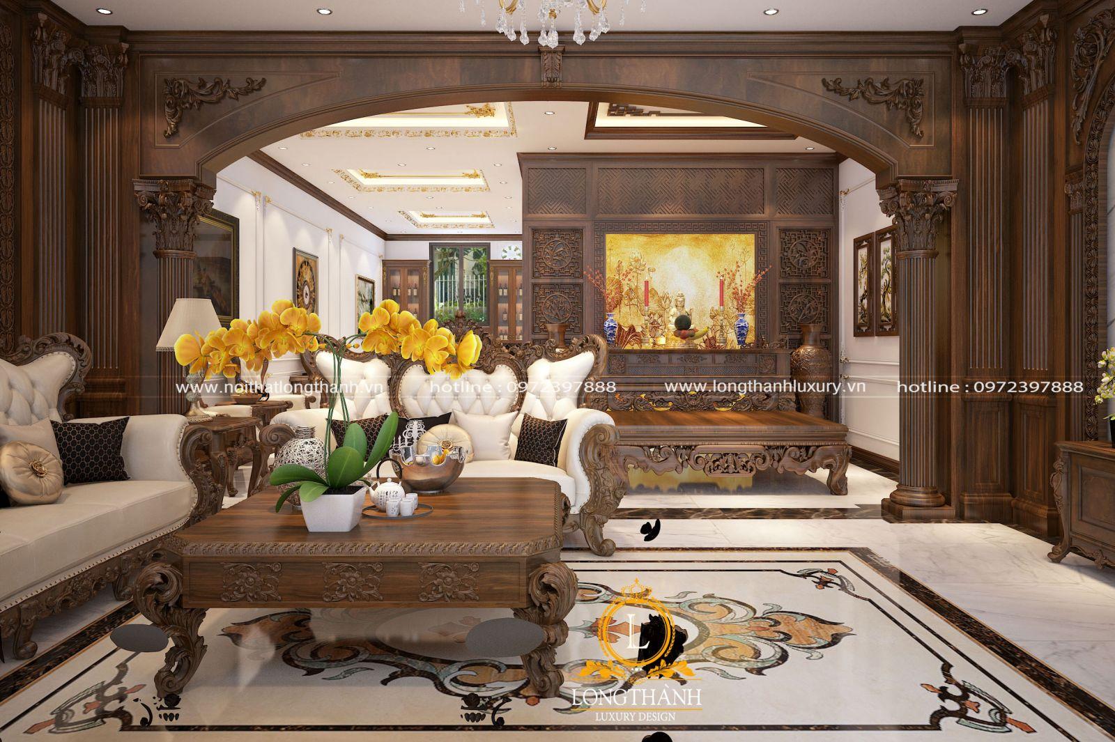 Không gian phòng khách thiết kế kết hợp với khu thờ cúng trang trọng