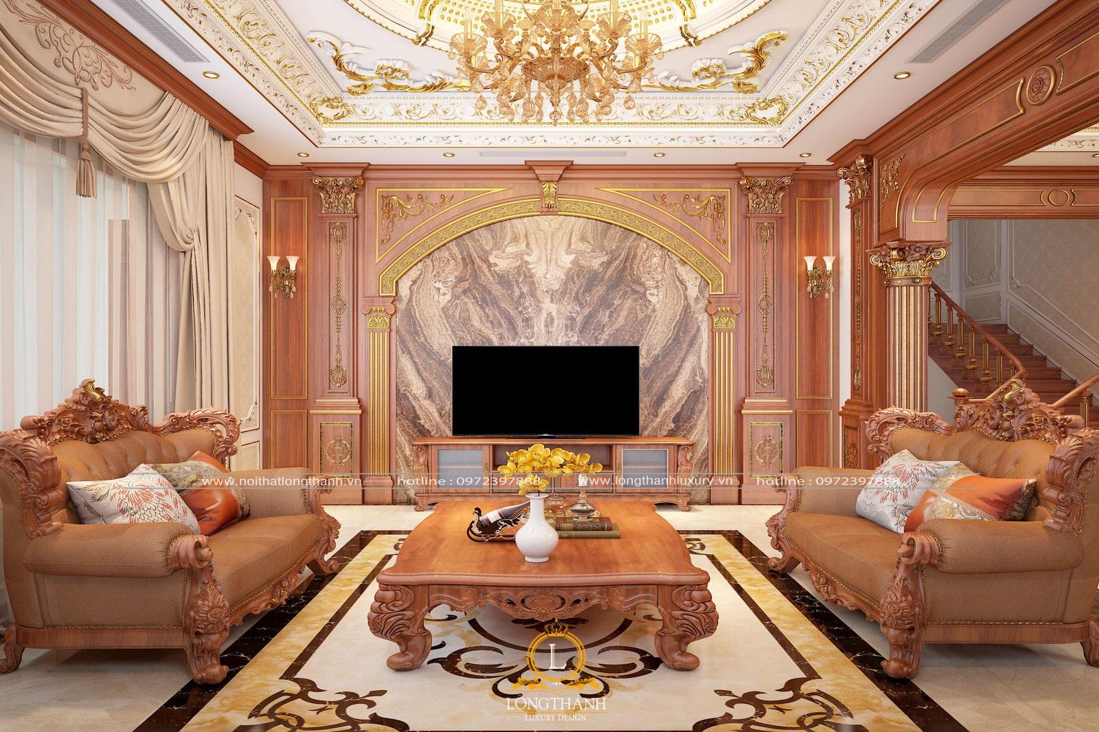 phòng khách tân cổ điển đẹp cho biệt thự
