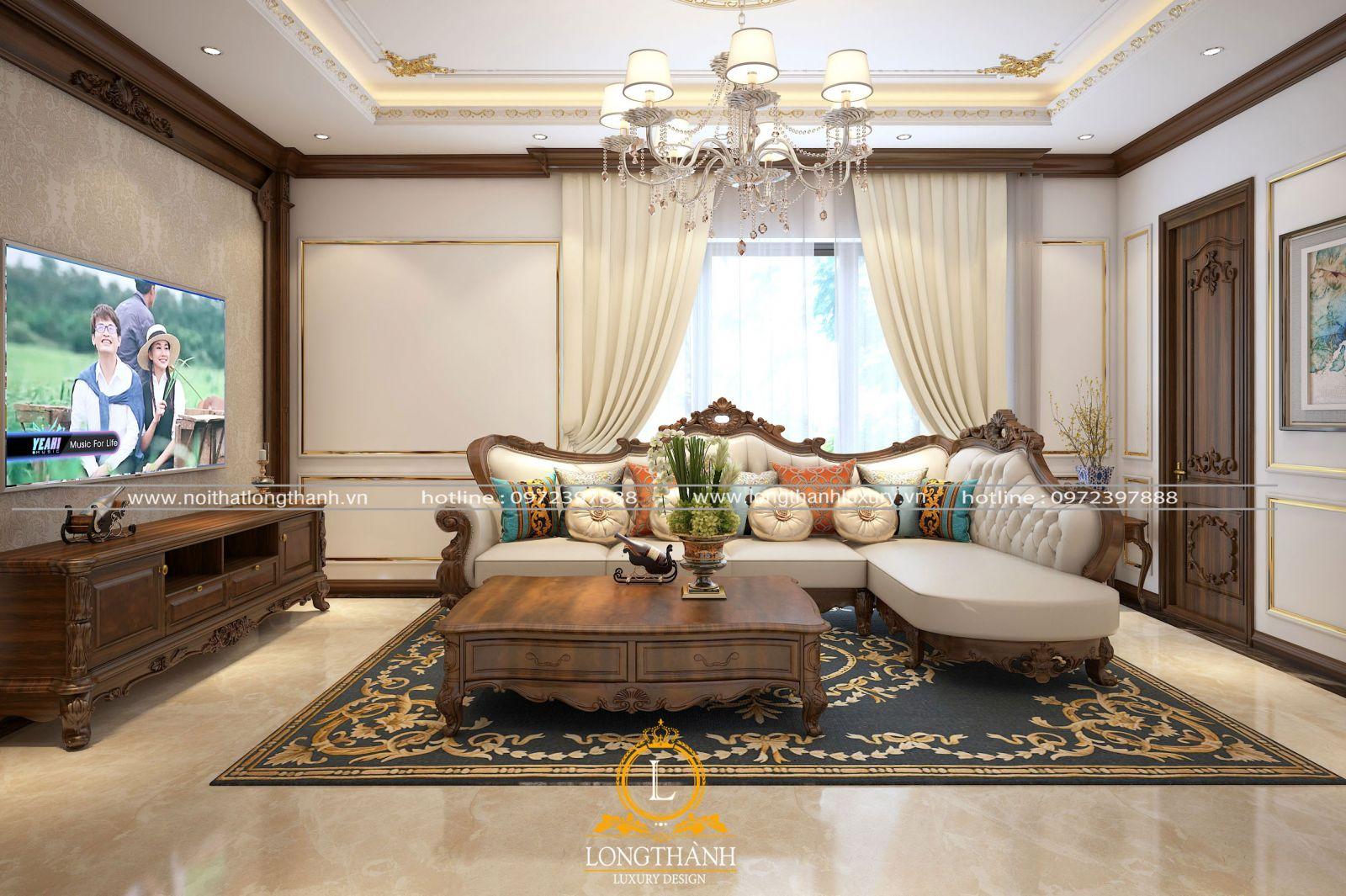 Phòng khách tân cổ điển nổi bật với sofa góc đẹp