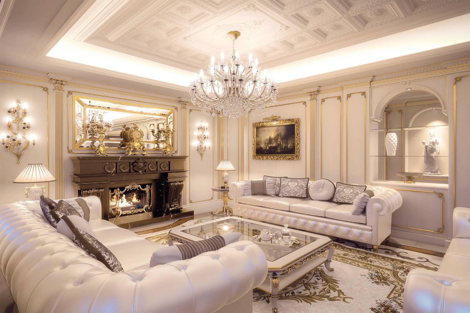 Phòng khách tân cổ điển sang trọng cao cấp phong cách hoàng gia