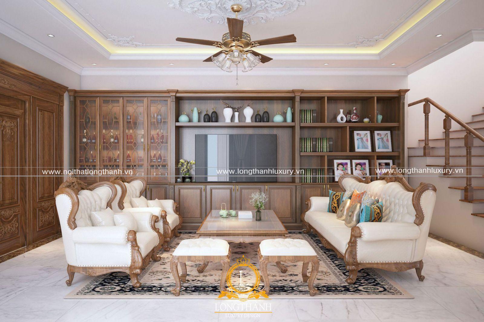 Phòng khách tân cổ điển sở hữu họa tiết hoa văn nhẹ nhàng, mềm mại