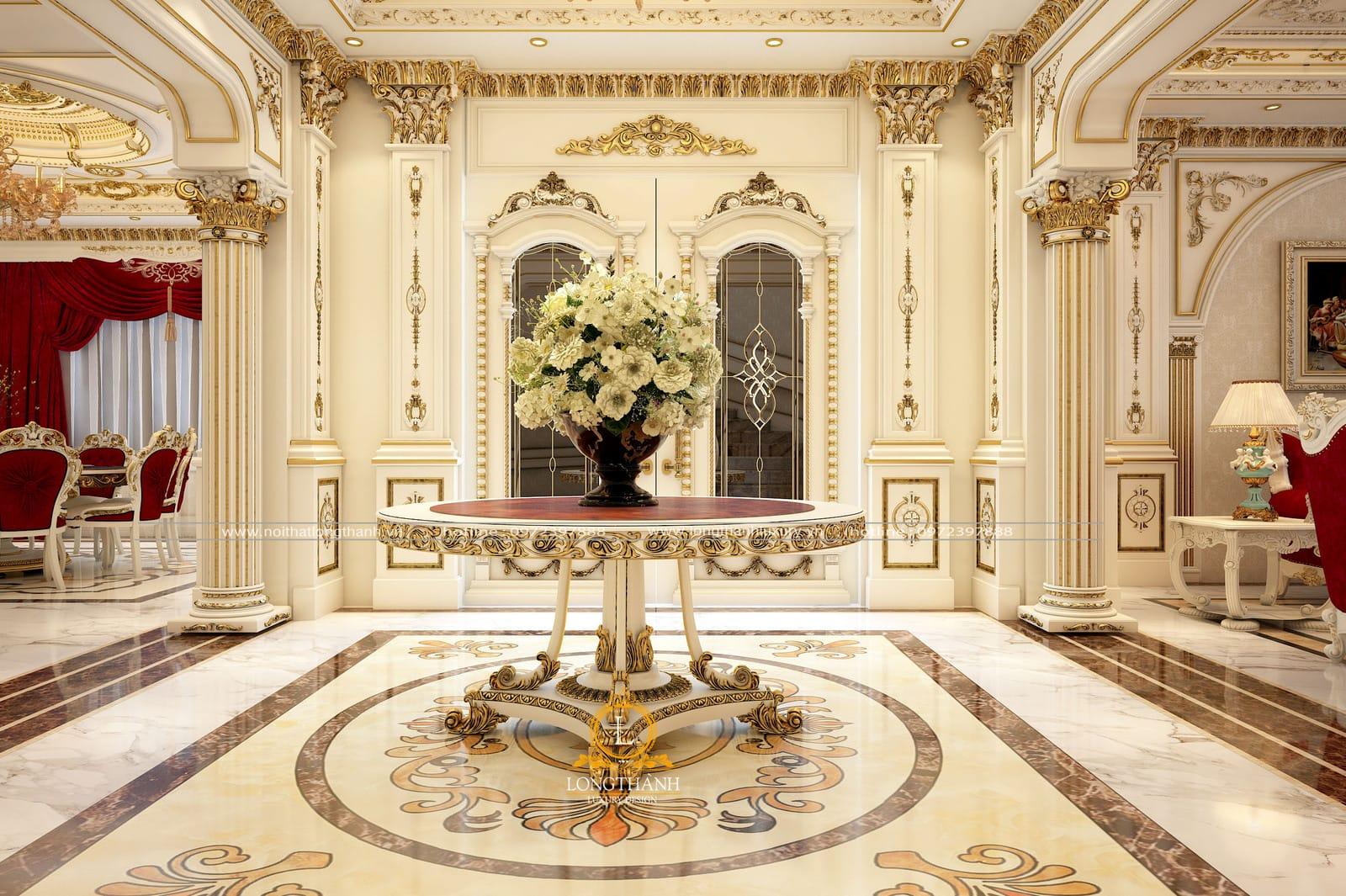 Mẫu phòng khách tân cổ điển sơn trắng dát vàng