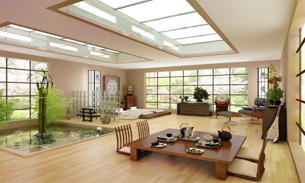 Thiết kế phòng khách Nhật thường sử dụng các chất liệu từ tự nhiên