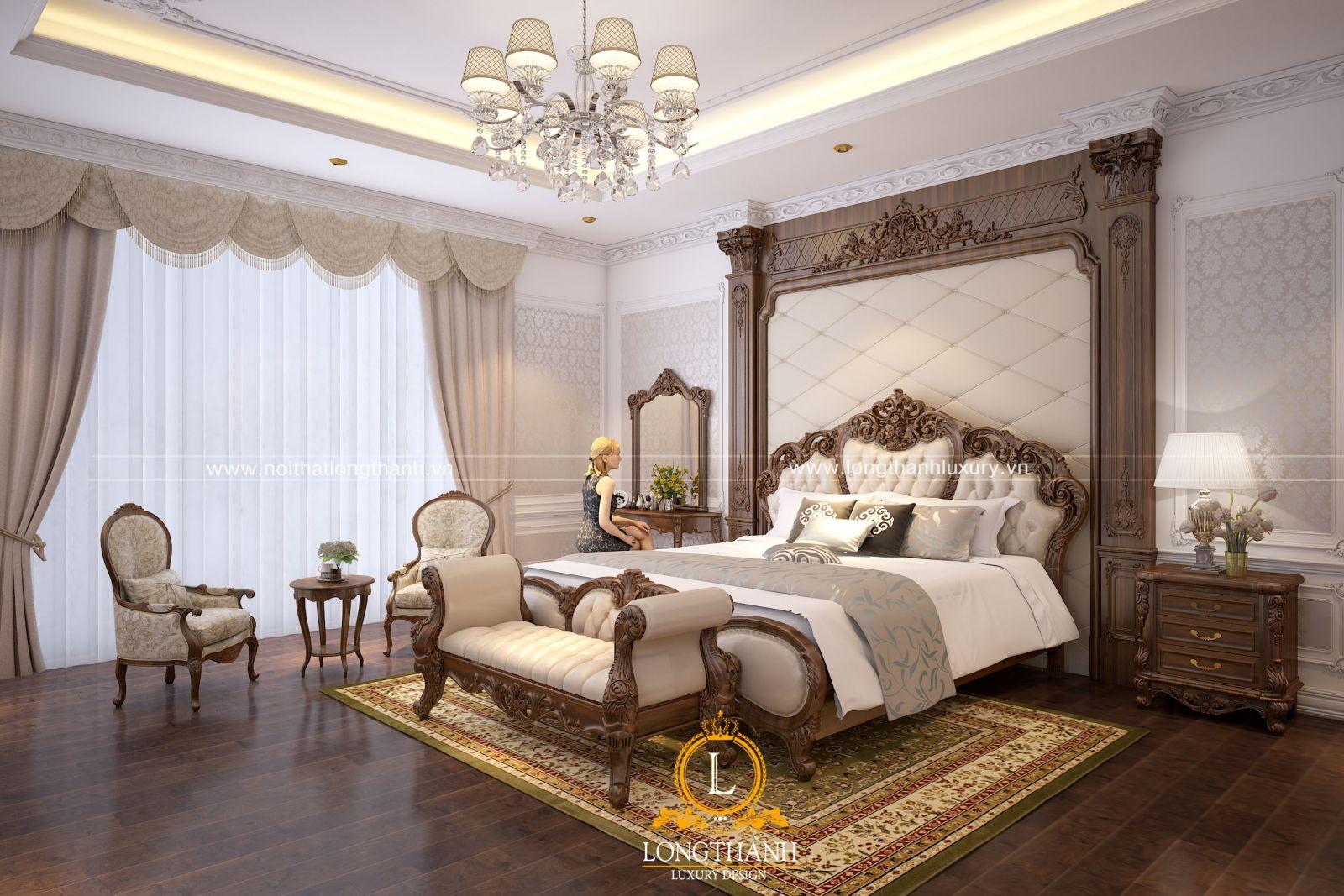 phòng ngủ master được thiết kế với các không gian phụ rất tiện nghi