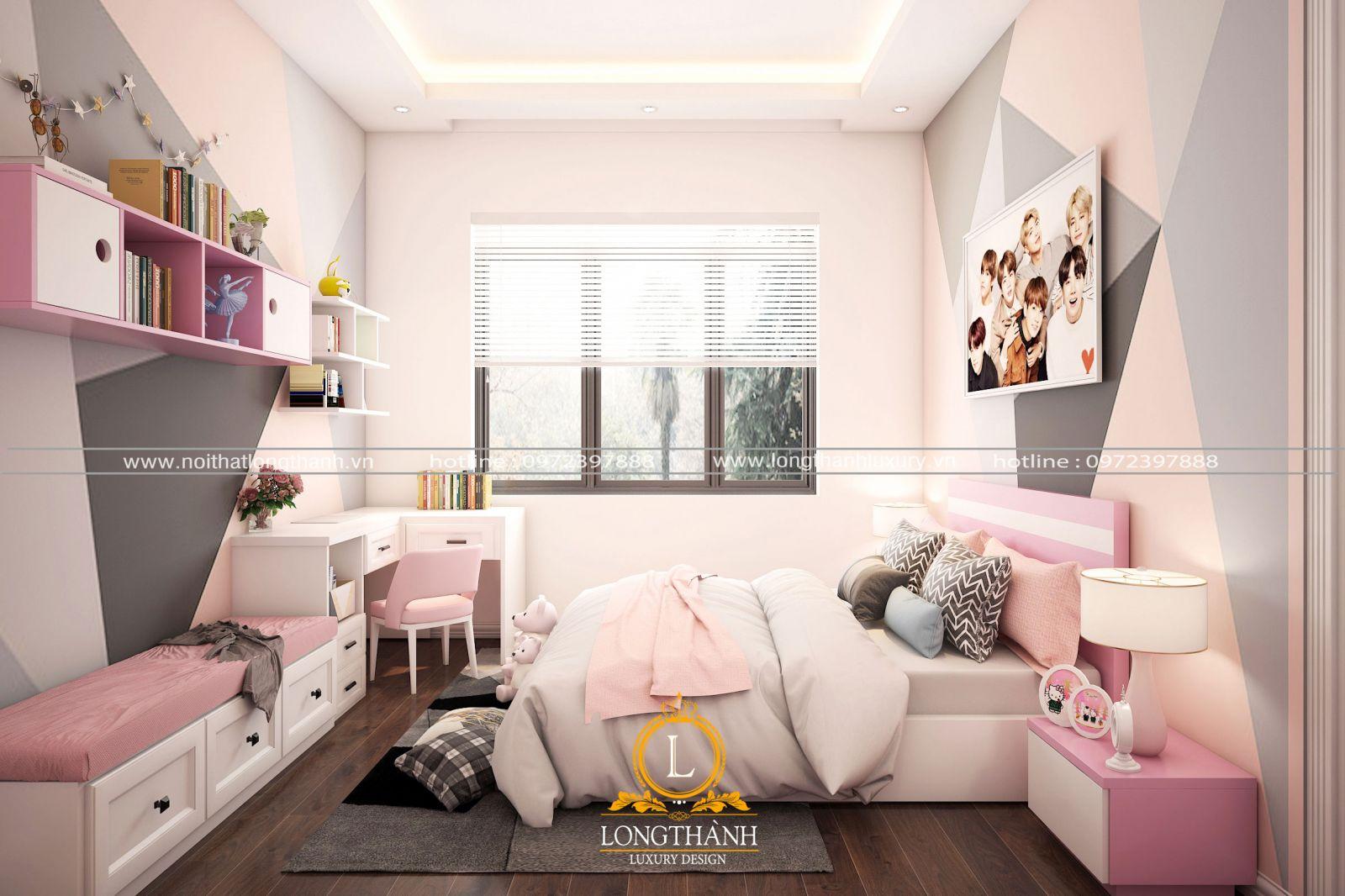 Nội thất phòng ngủ chung cư hiện đại cho bé gái