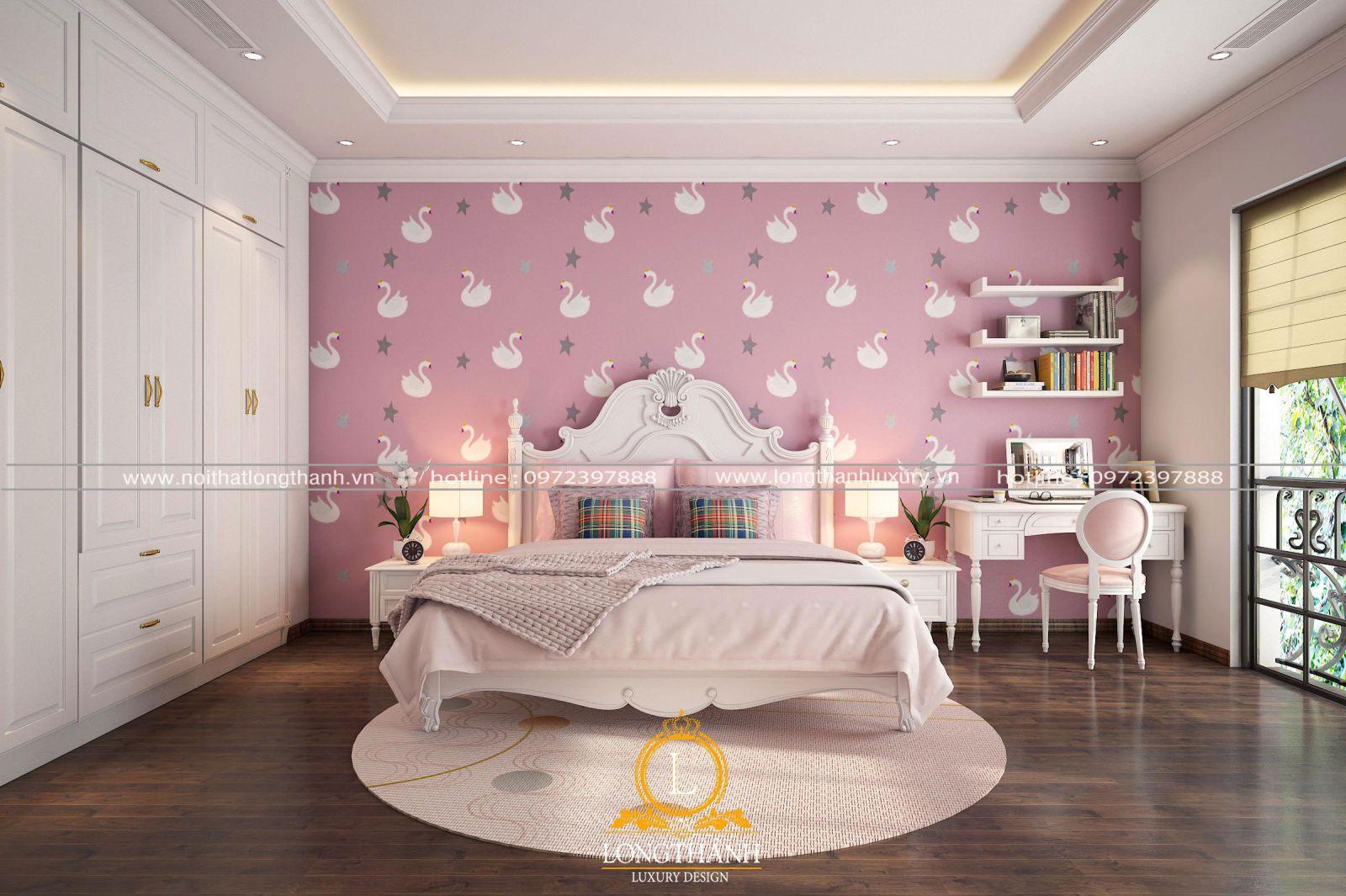 Phòng ngủ bé gái màu sắc trắng hồng