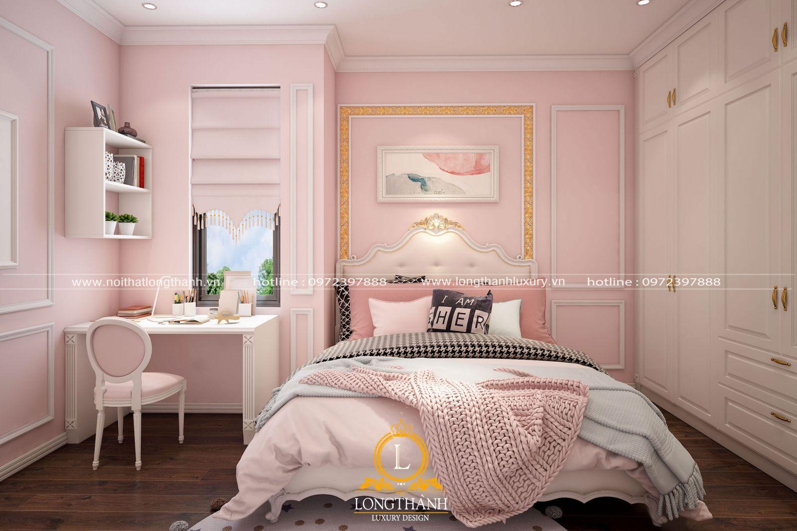 Phòng ngủ cho bé gái phong cách tân cổ điển