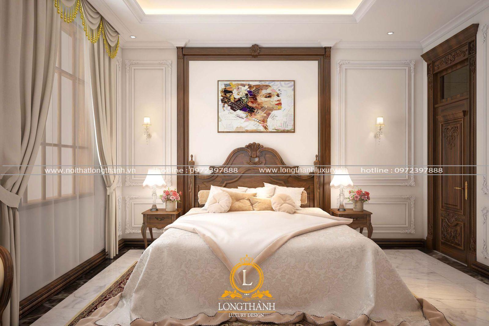 Phòng ngủ bé gái trắng phối màu nâu gỗ