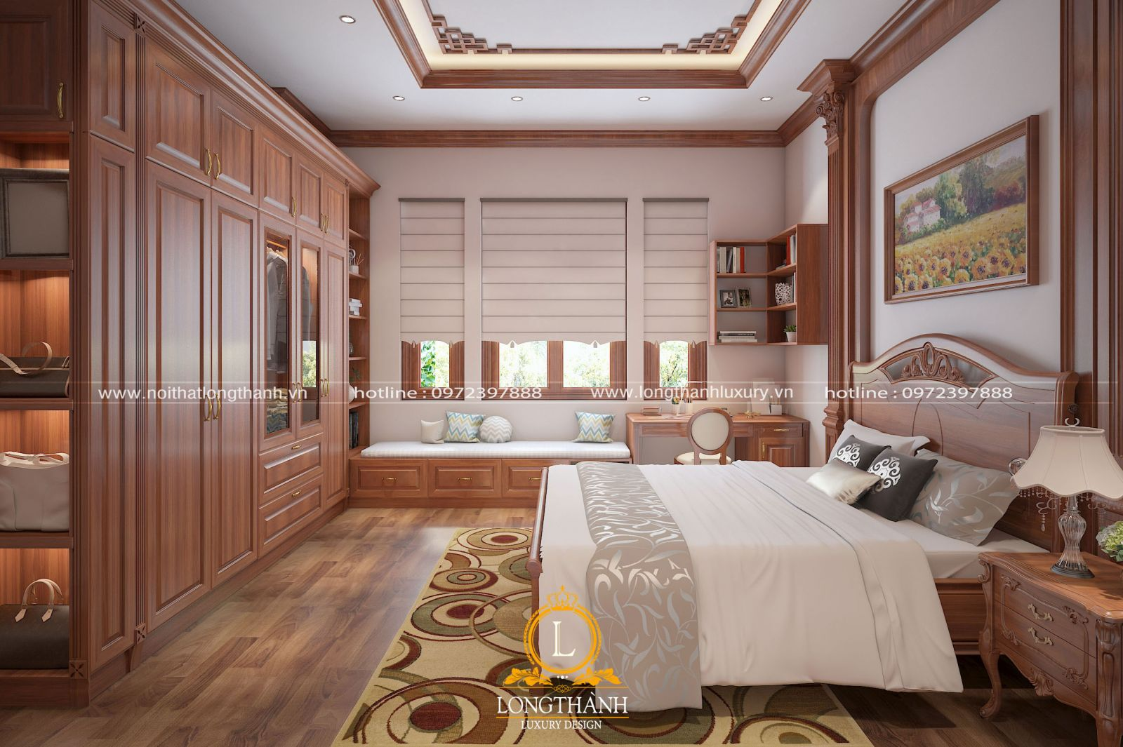 Phòng ngủ cao cấp với bộ giường ngủ ấn tượng