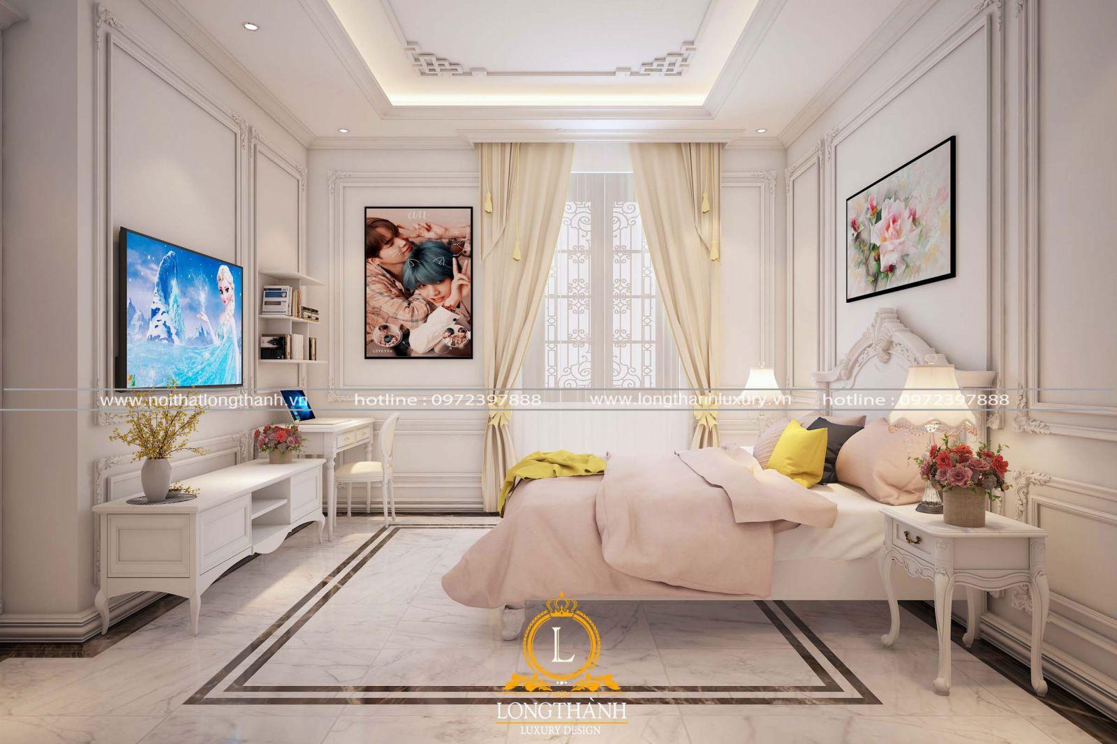 Phòng ngủ tân cổ điển gô tự nhiên cho bé gái đầy đủ tiện nghi