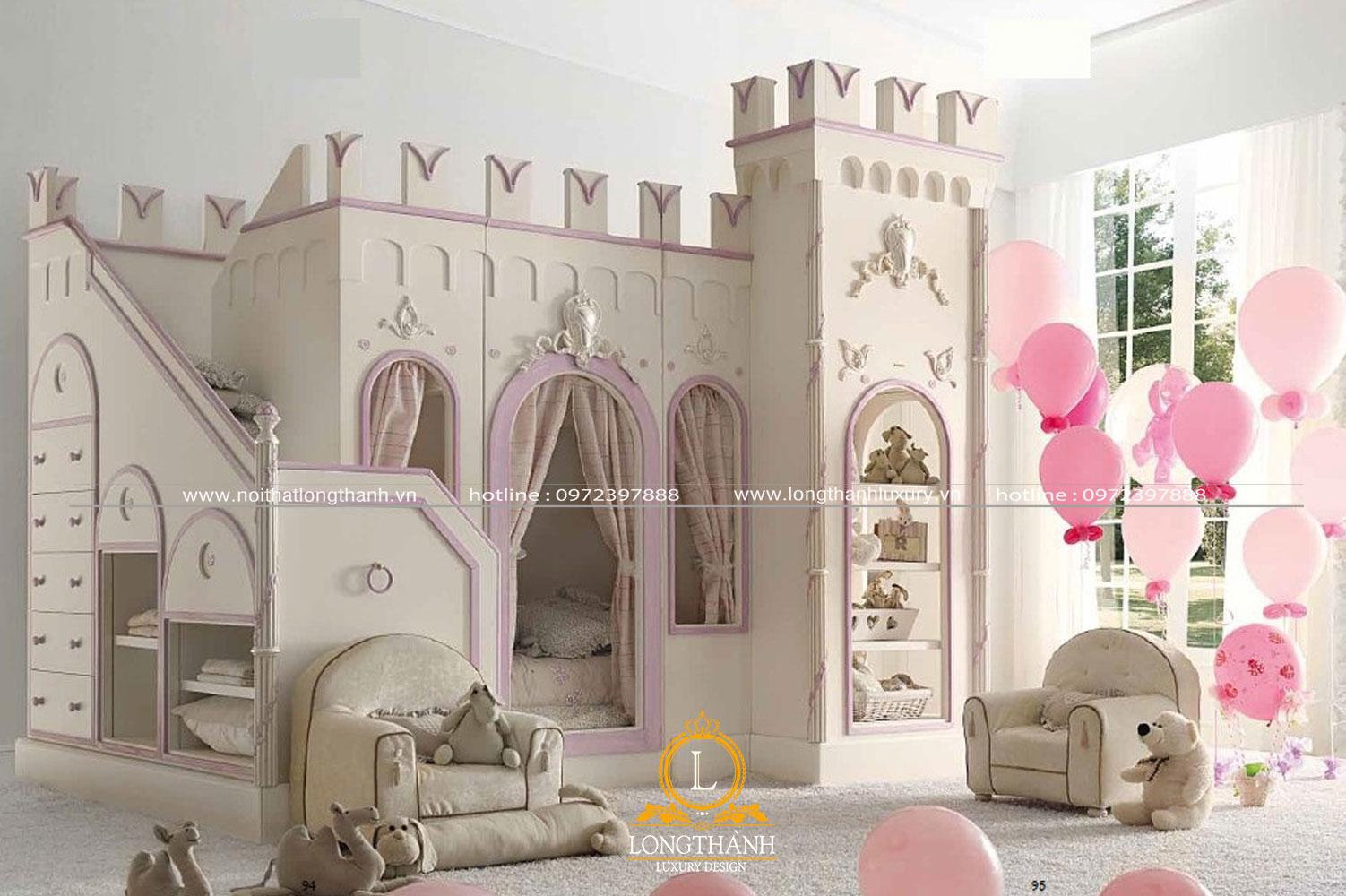 Phòng ngủ cho bé gái được thiết kế kiểu dáng lâu đài