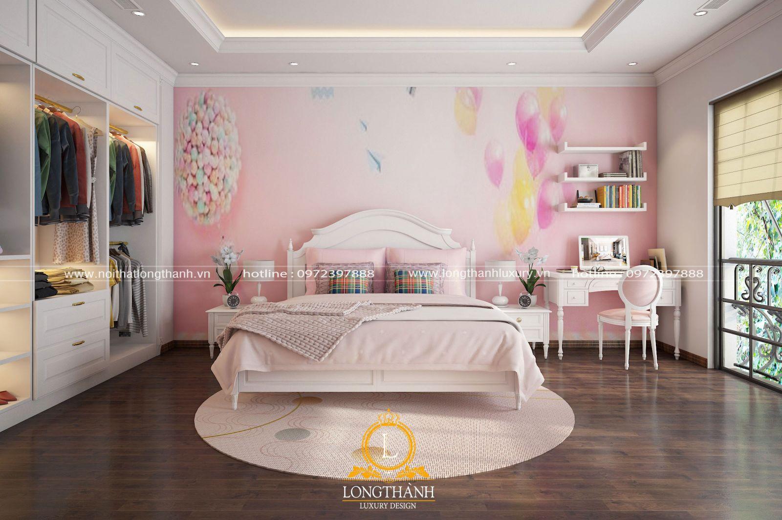 Phòng ngủ cho bé gái mang phong cách tân cổ điển