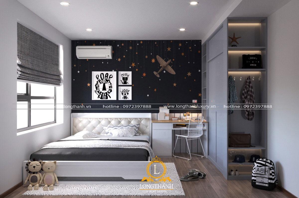 Phòng ngủ cho bé trai hiện đại với màu sắc tối giản