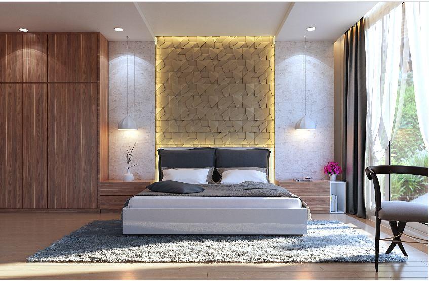 Phòng ngủ đẹp kết hợp ốp gỗ Laminate thêm phần sang trọng