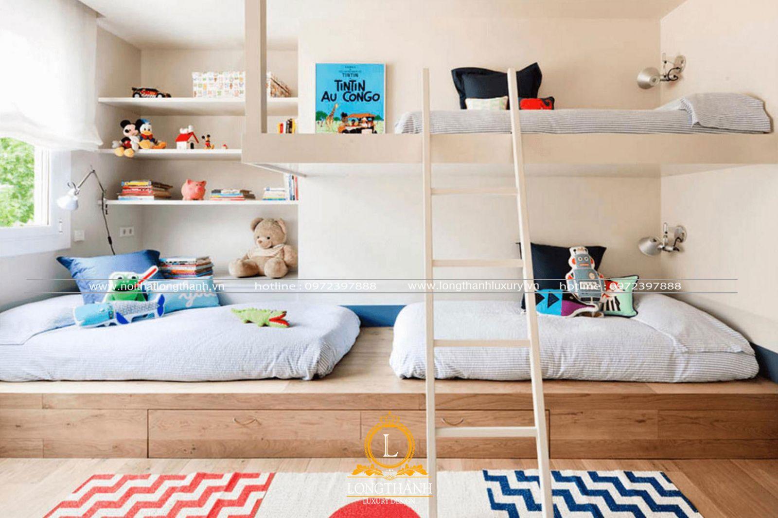 Phòng ngủ đôi cho 2 bé được thiết kế độc đáo