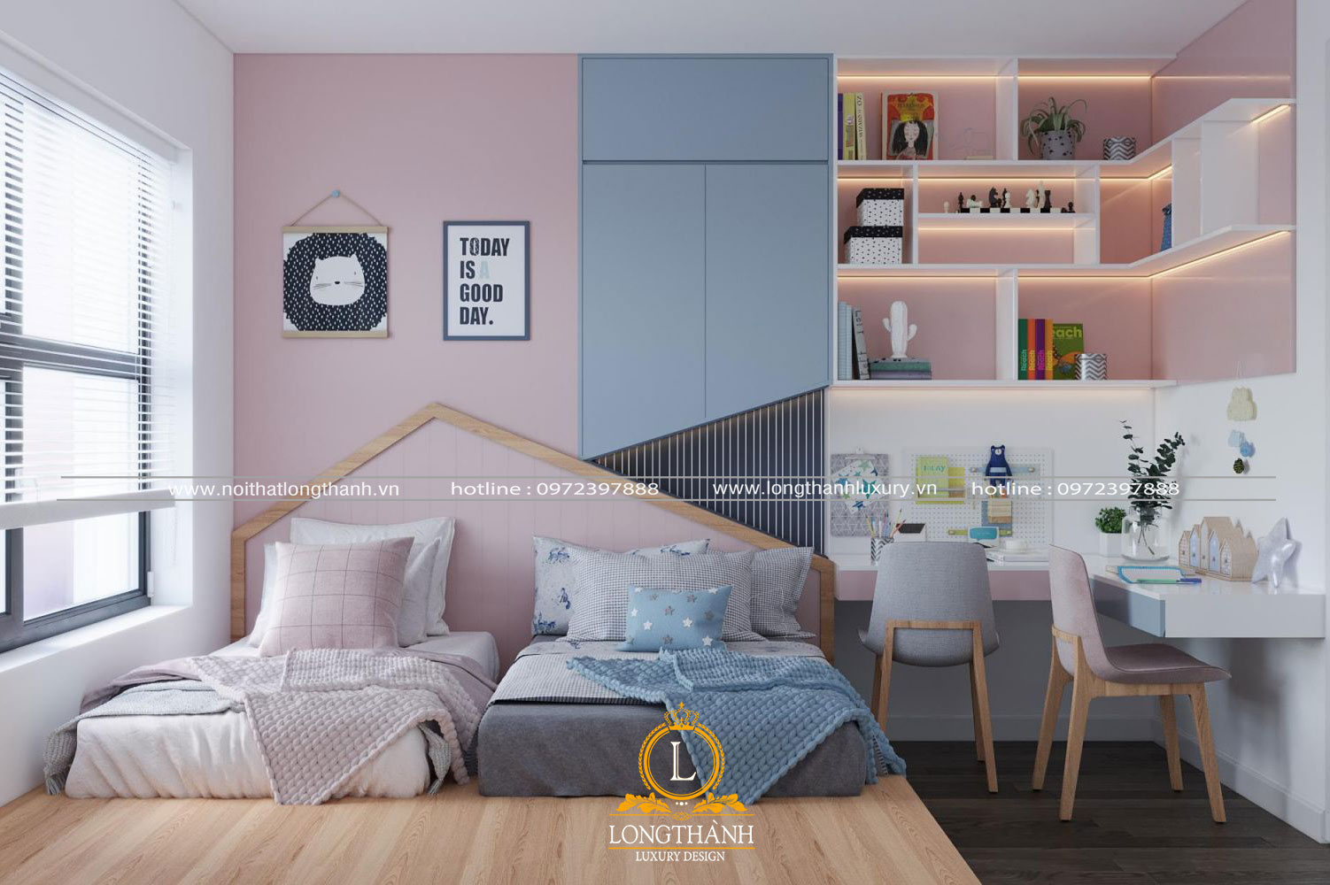 Phòng ngủ đôi cho 2 bé cho chưng cư hiện đại