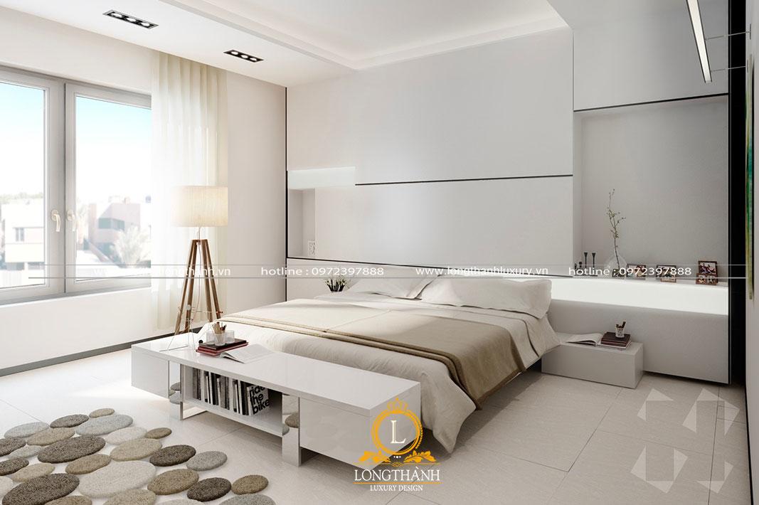 Không gian phòng ngủ nội thất tối giản với màu sơn trắng