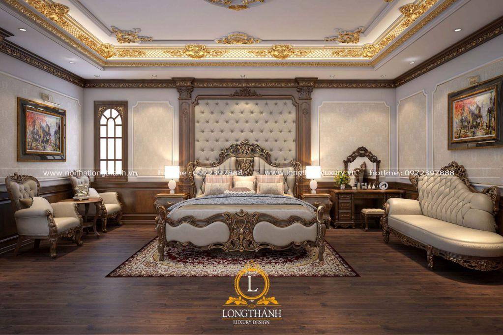 Mẫu phòng ngủ tân cổ điển gỗ tự nhiên dát vàng